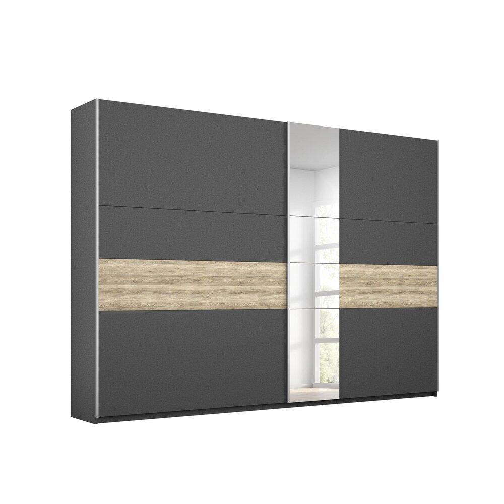 Armoire - Armoire 2 portes coulissantes 261 cm chêne et gris foncé - ATTIS photo 1