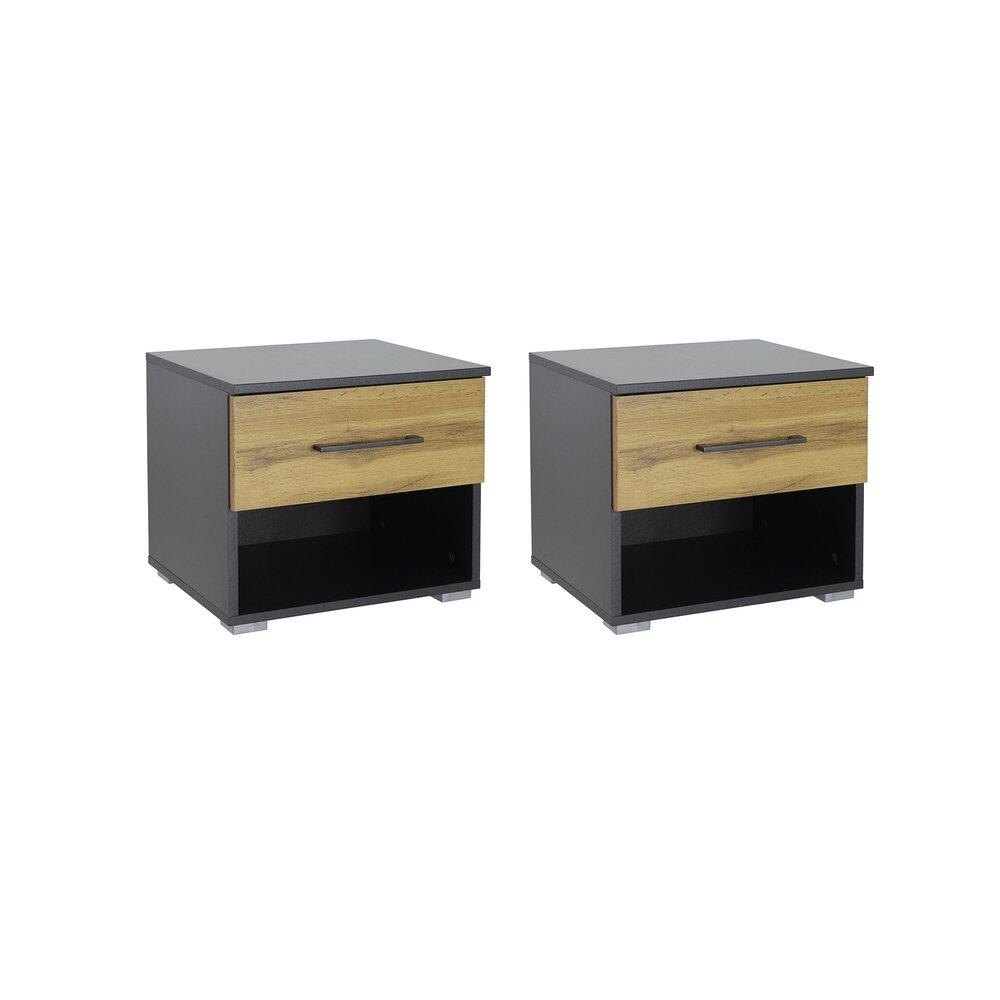 Chevet - Lot de 2 chevets 1 tiroir décor chêne et gris - AUSTIN photo 1
