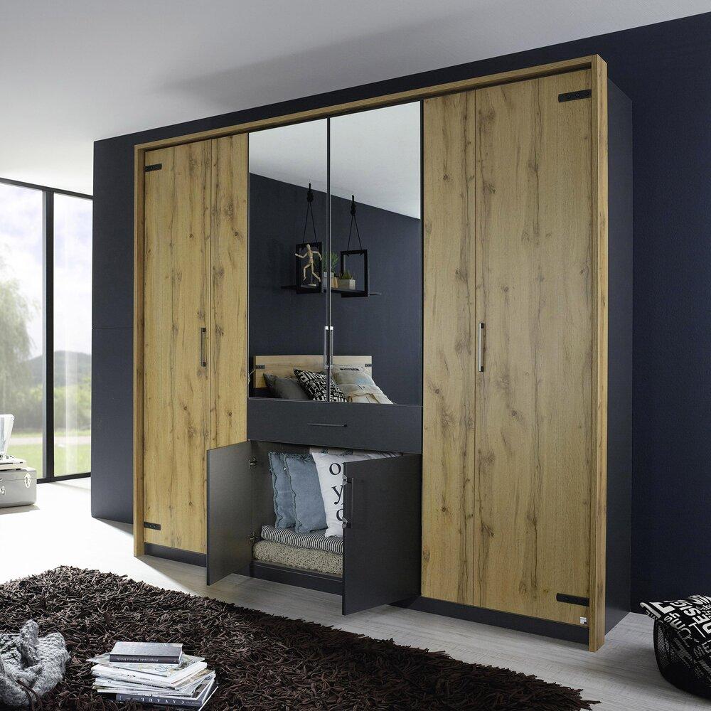Armoire - Armoire 8 portes et 1 tiroir 226 cm décor chêne et gris - AUSTIN photo 1
