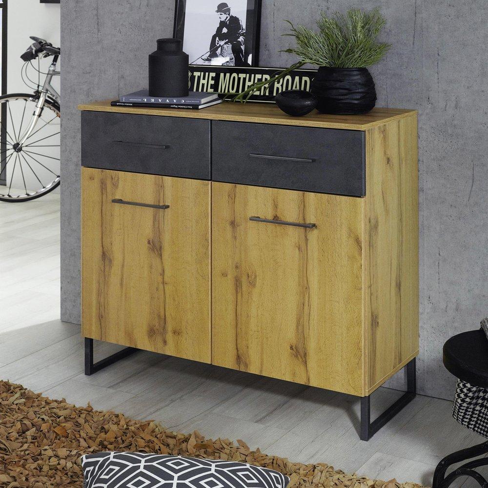 Commode - Coiffeuse - Commode 2 portes et 2 tiroirs décor chêne et anthracite - DETROIT photo 1