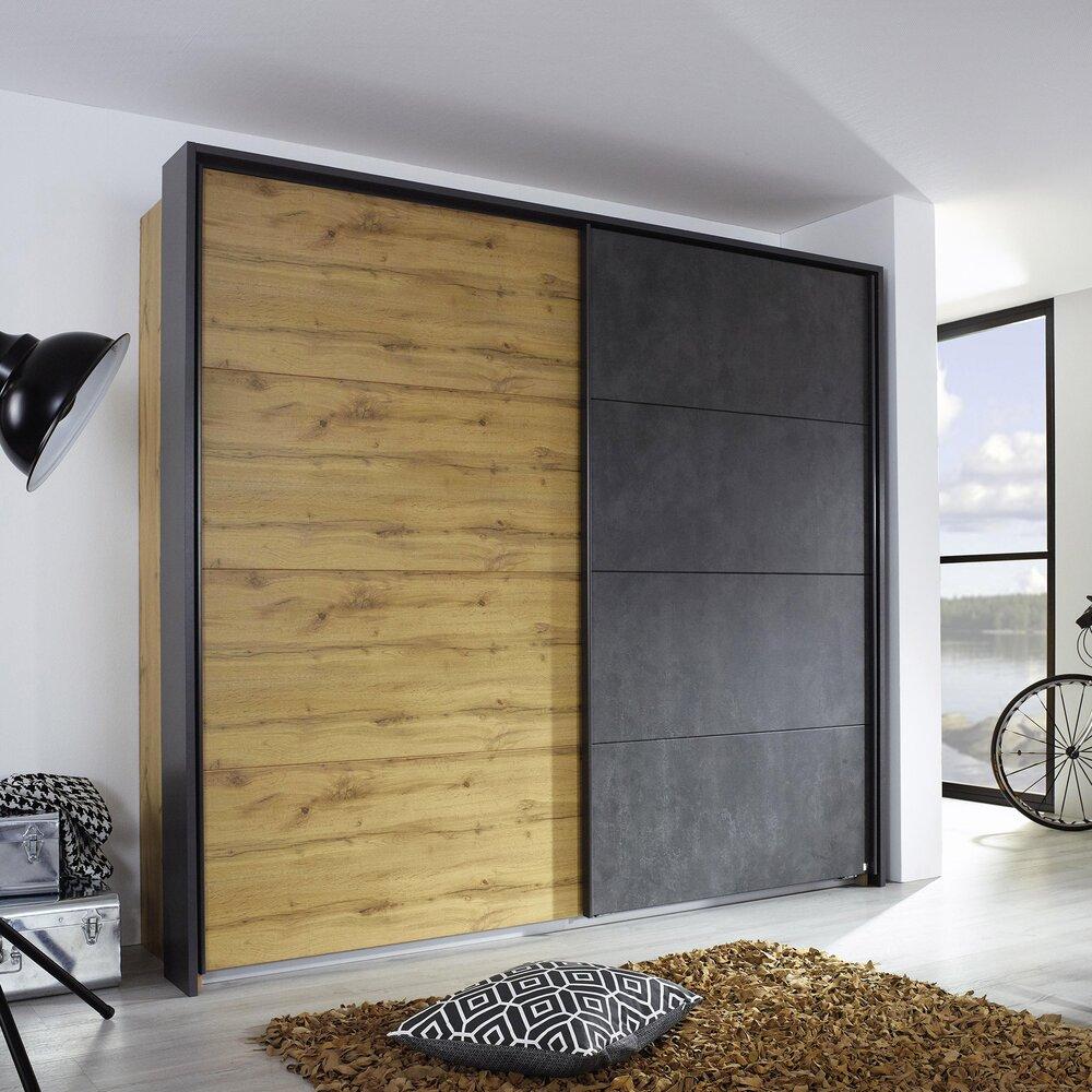Armoire - Armoire 2 portes coulissantes 226 cm décor chêne et anthracite - DETROIT photo 1