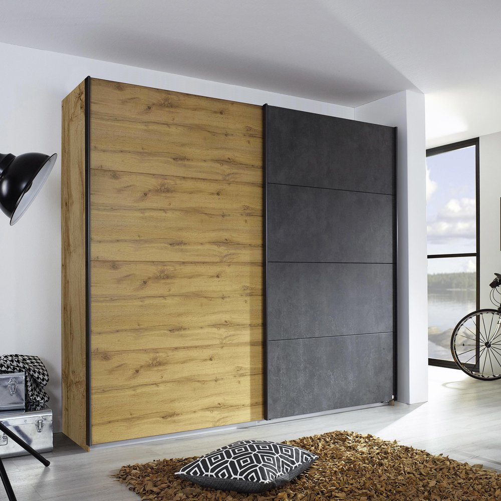 Armoire - Armoire 2 portes coulissantes 271 cm décor chêne et anthracite - DETROIT photo 1