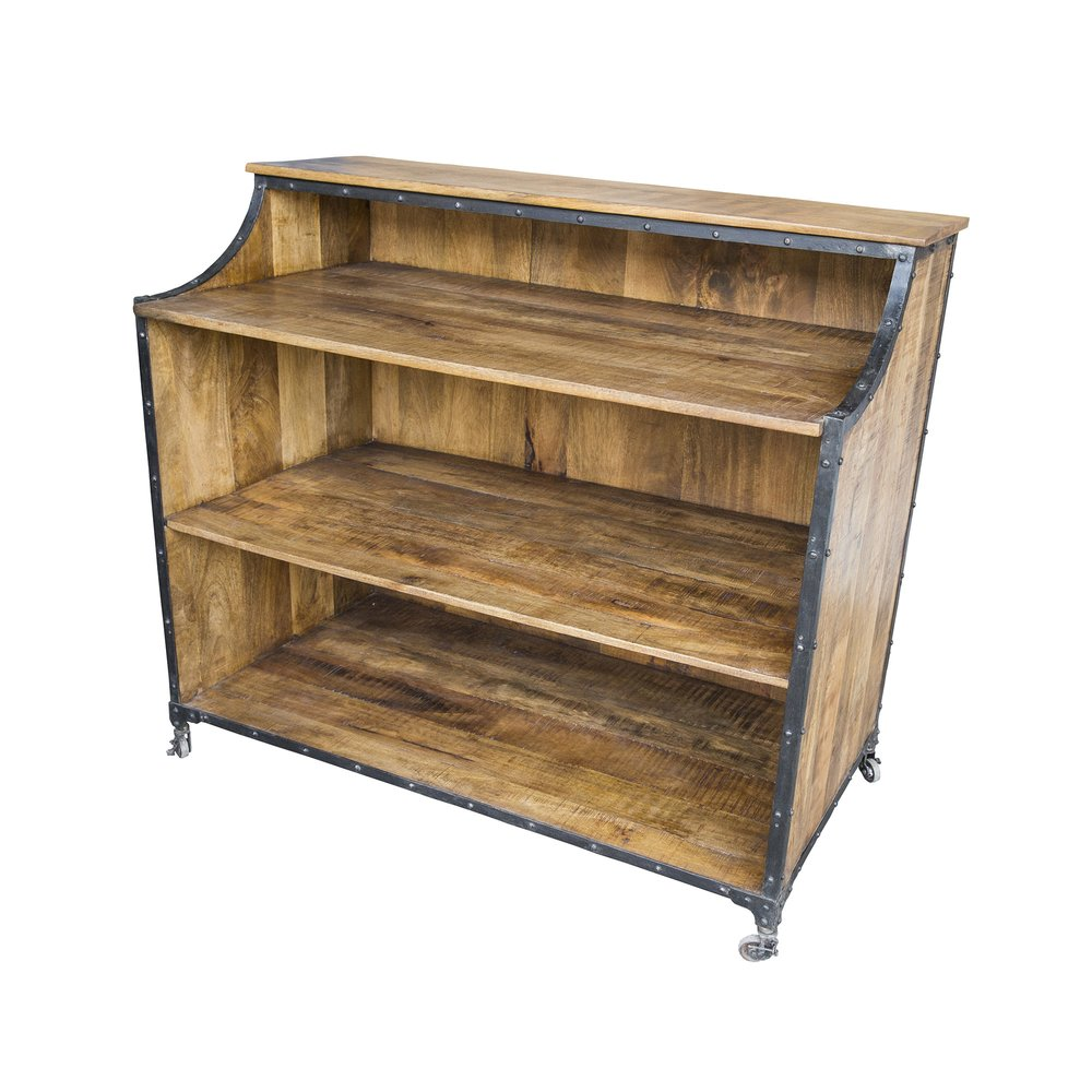 Bar - Bar industriel sur roulettes 122x65x110 cm en bois et métal photo 1