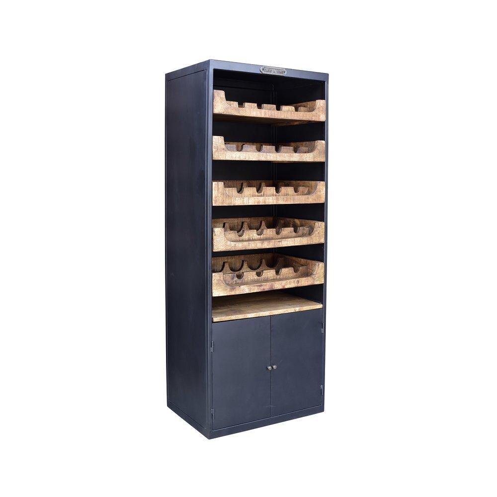 Bar - Meuble range-bouteilles 67x44x177 cm en bois et métal photo 1