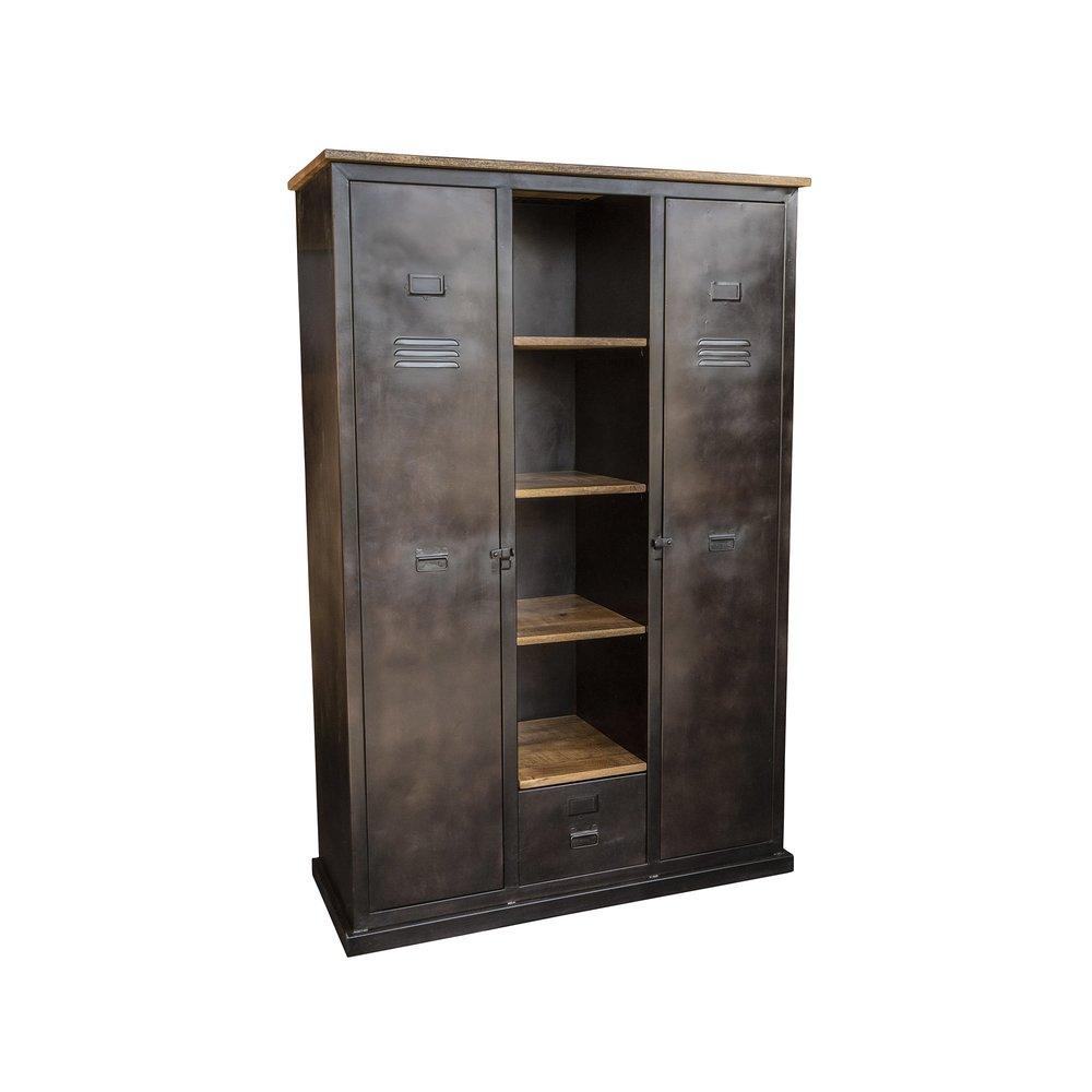 Armoire - Armoire industrielle 2 portes et 1 tiroirs en bois et métal photo 1
