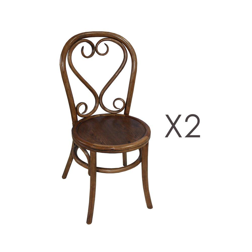 Chaise - Lot de 2 chaises brasserie en bois et rotin marron - VANY photo 1