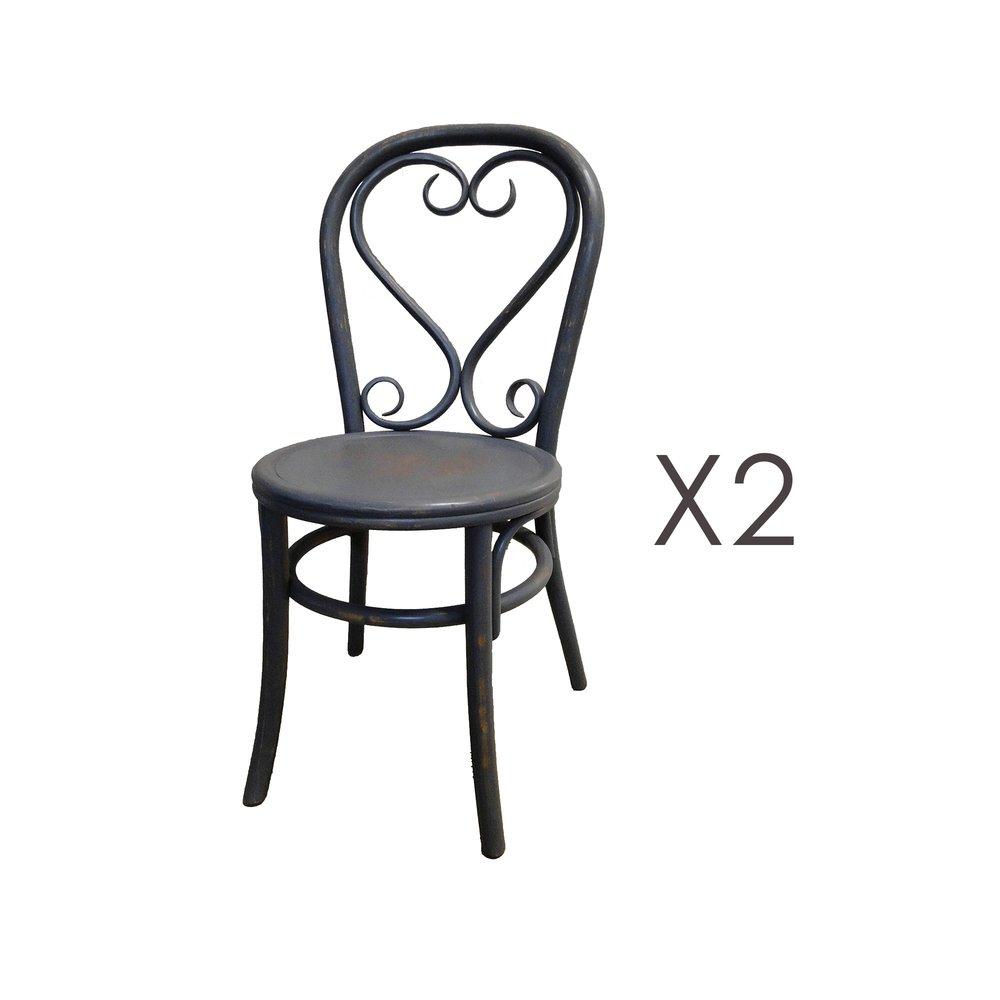 Chaise - Lot de 2 chaises brasserie en bois et rotin anthracite - VANY photo 1