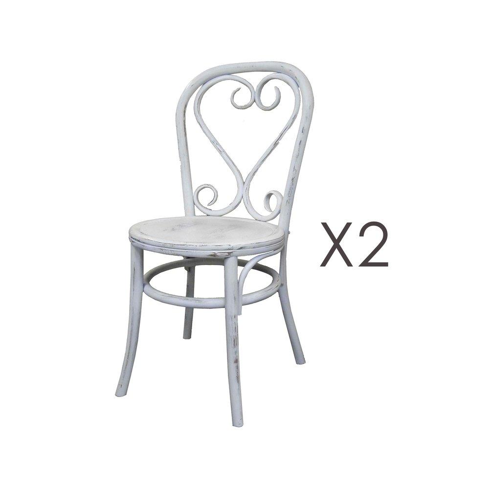 Chaise - Lot de 2 chaises brasserie en bois et rotin blanc - VANY photo 1