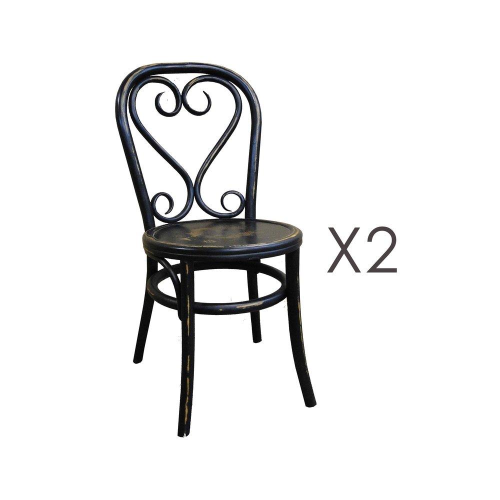 Chaise - Lot de 2 chaises brasserie en bois et rotin noir - VANY photo 1