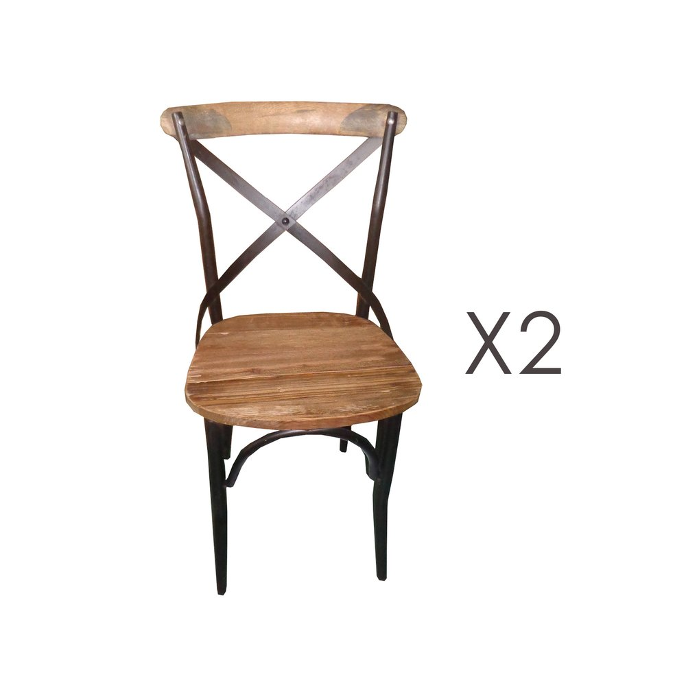 Chaise - Lot de 2 chaises bistrot en métal et pin naturel - BASTY photo 1