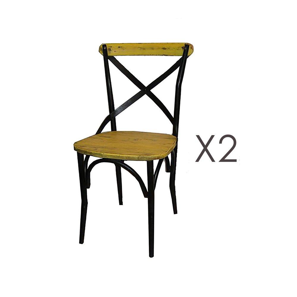 Chaise - Lot de 2 chaises bistrot en métal et pin jaune - BASTY photo 1
