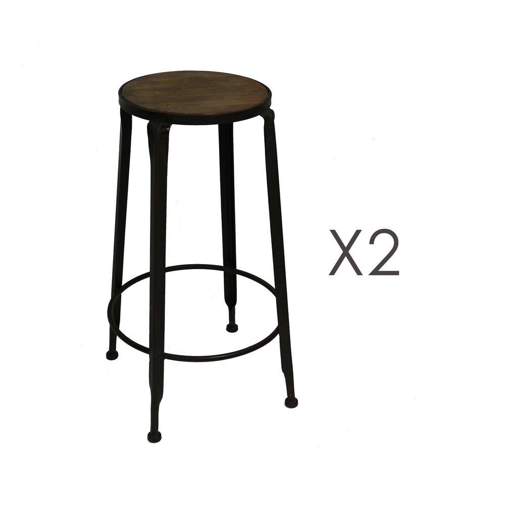 Tabouret de bar - Lot de 2 tabourets de bar 43,5x43,5x77 cm en bois et métal photo 1