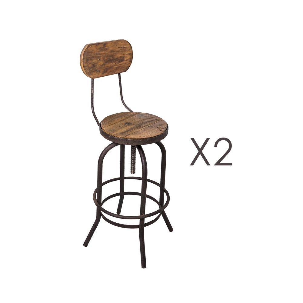 Tabouret de bar - Lot de 2 chaises de bar en pin vieilli naturel et métal - MAGNY photo 1