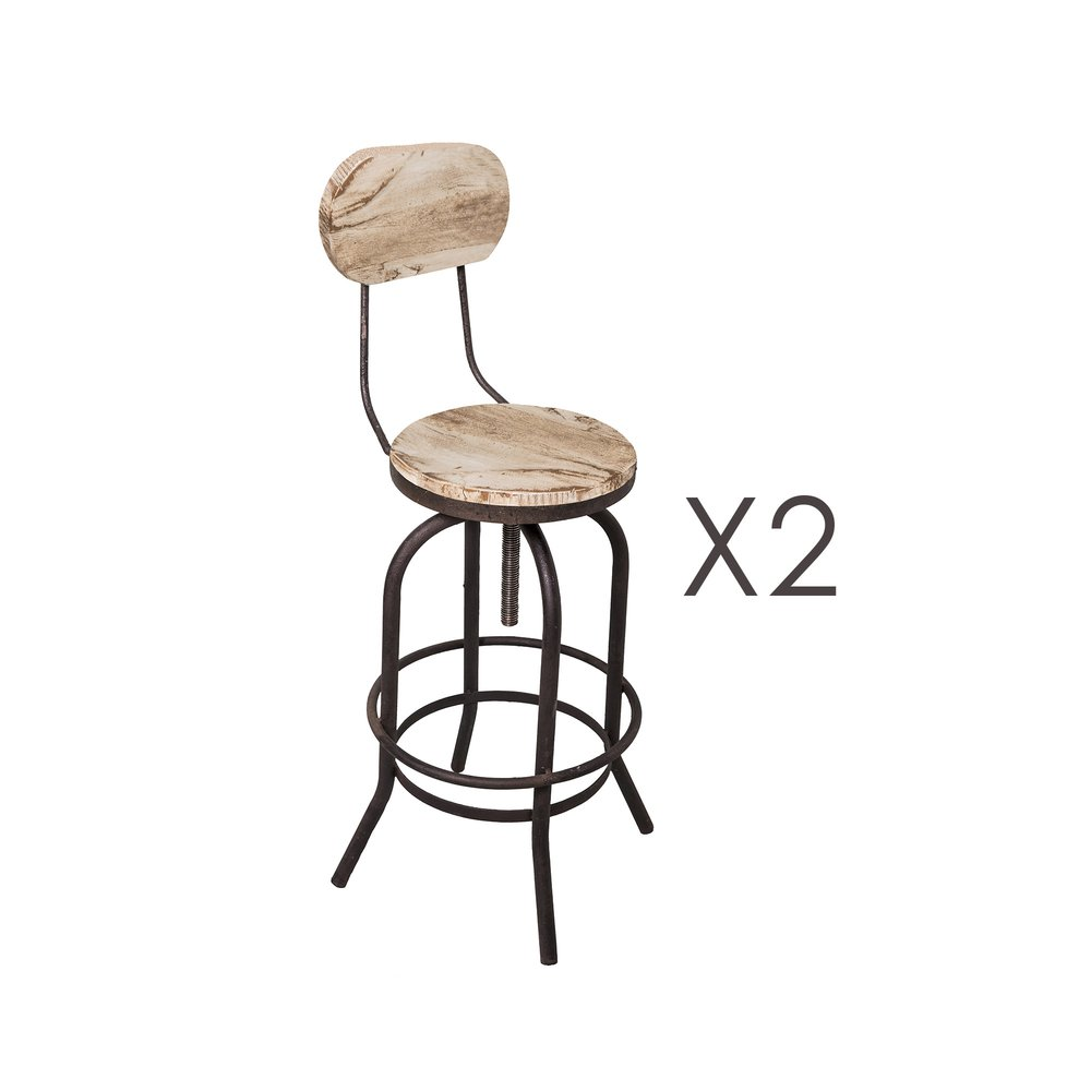 Tabouret de bar - Lot de 2 chaises de bar en pin vieilli blanc et métal - MAGNY photo 1