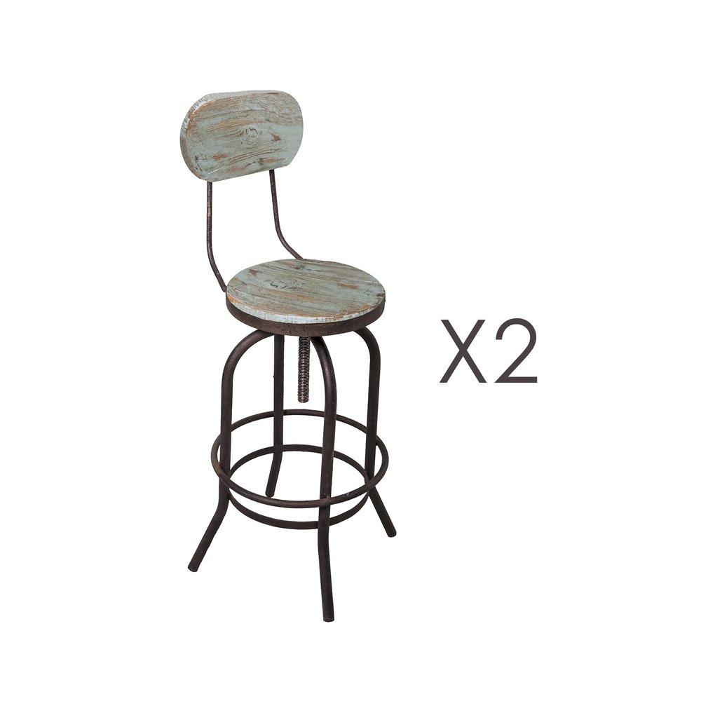 Tabouret de bar - Lot de 2 chaises de bar en pin vieilli bleu et métal - MAGNY photo 1
