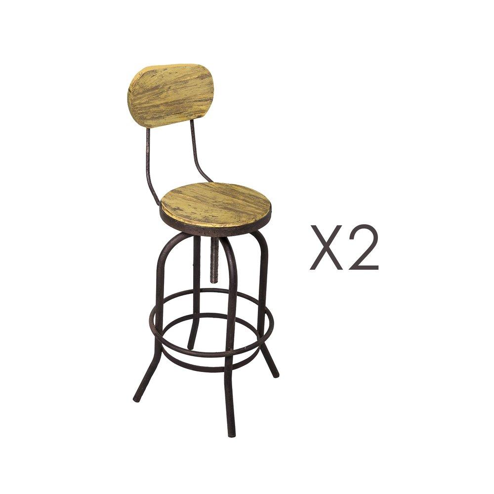 Tabouret de bar - Lot de 2 chaises de bar en pin vieilli jaune et métal - MAGNY photo 1