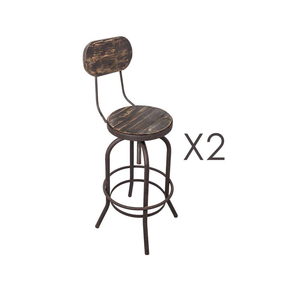 Tabouret de bar - Lot de 2 chaises de bar en pin vieilli noir et métal - MAGNY photo 1