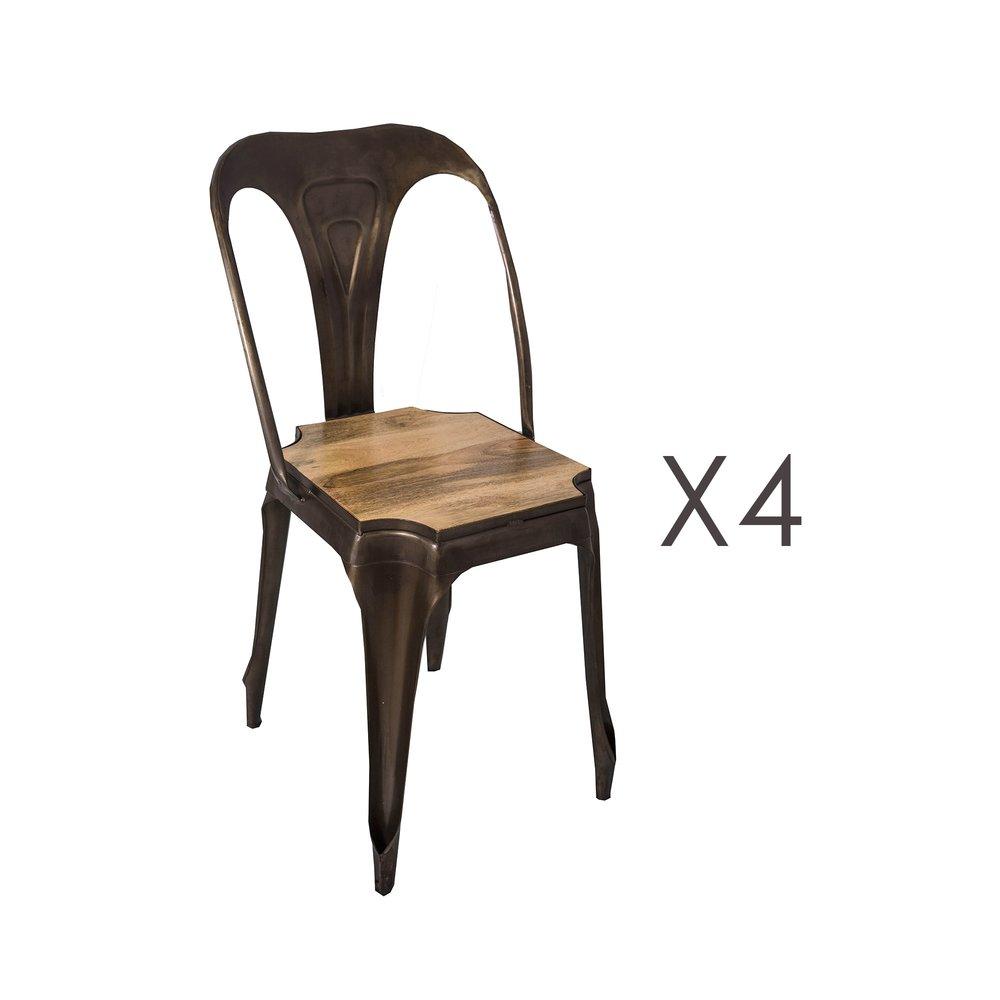 Chaise - Lot de 4 chaises avec assise en manguier et métal noir - TALY photo 1