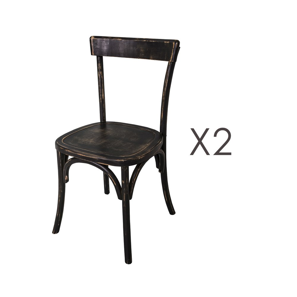 Chaise - Lot de 2 chaises bistrot 45x47x86 cm en bouleau noir photo 1