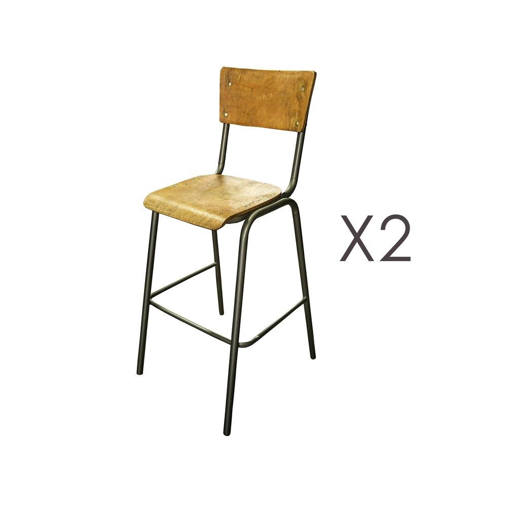 Tabouret de bar - Lot de 2 chaises de bar en manguier naturel et métal - HARNY photo 1