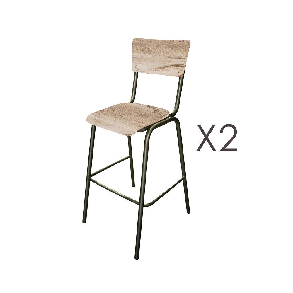 Tabouret de bar - Lot de 2 chaises de bar en manguier blanc et métal - HARNY photo 1