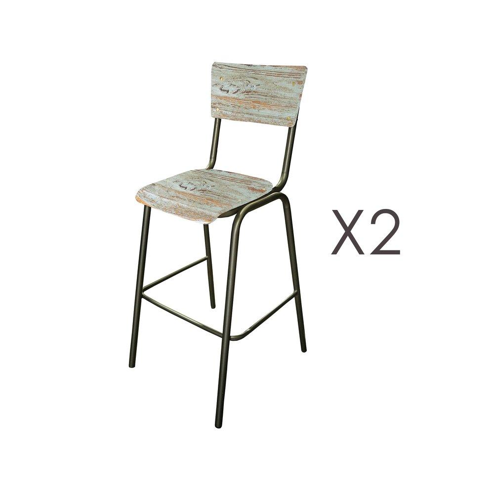 Tabouret de bar - Lot de 2 chaises de bar en manguier bleu et métal - HARNY photo 1