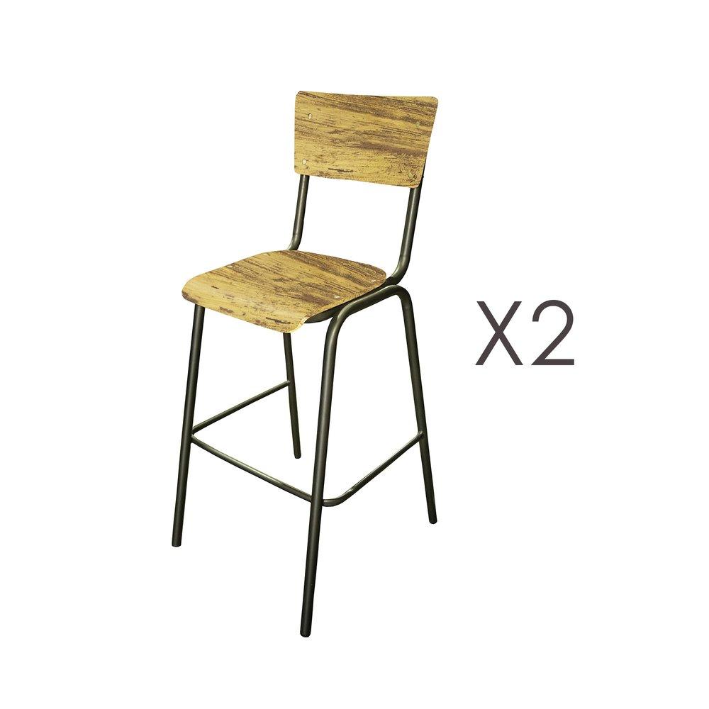 Tabouret de bar - Lot de 2 chaises de bar en manguier jauni et métal - HARNY photo 1
