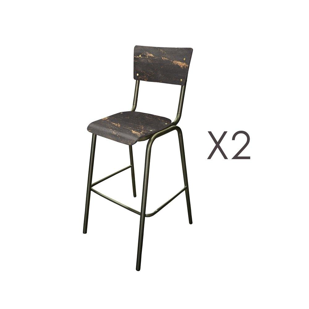 Tabouret de bar - Lot de 2 chaises de bar en manguier noir et métal - HARNY photo 1
