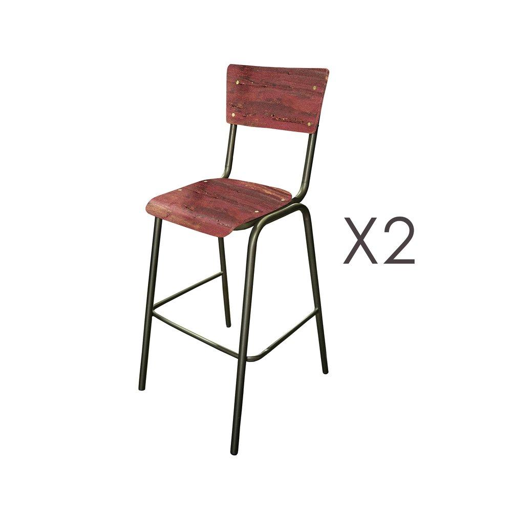 Tabouret de bar - Lot de 2 chaises de bar en manguier rouge et métal - HARNY photo 1