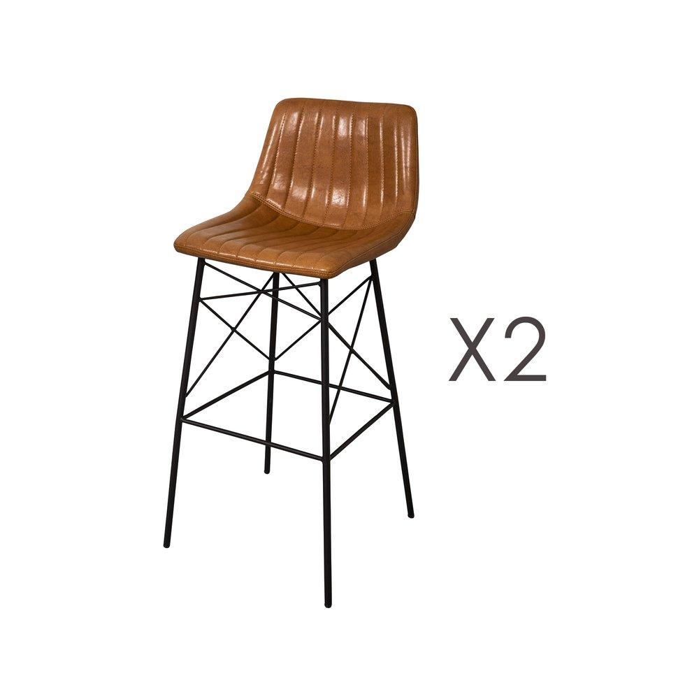 Tabouret de bar - Lot de 2 chaises de bar 46x47x102 cm en PU camel photo 1