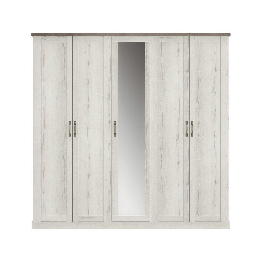 Armoire - Armoire 5 portes décor chêne blanchi et béton - ZAMOY photo 1