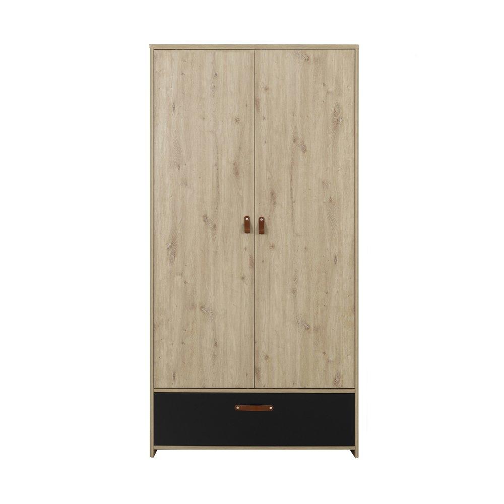 Armoire - Armoire 2 portes et 1 tiroir décor chêne et noir - GOYA photo 1