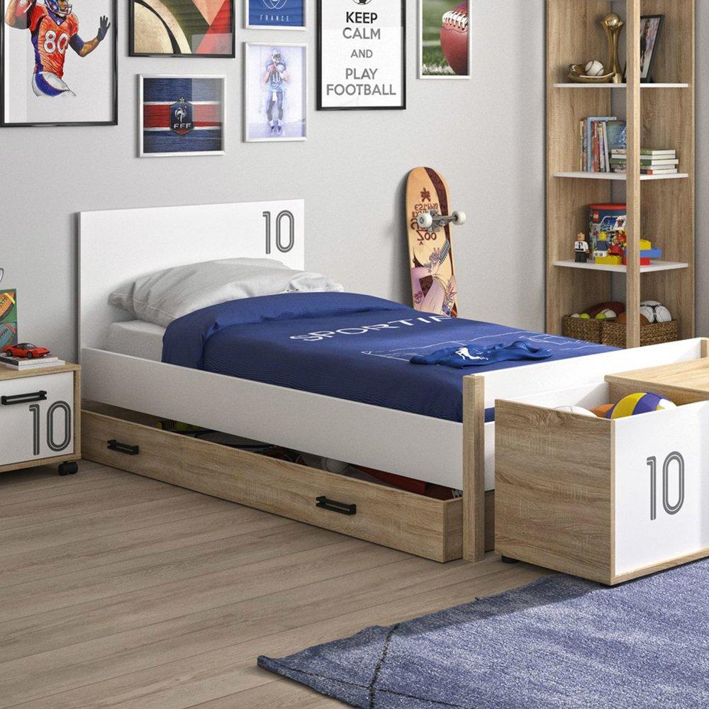 Lit - Lit 90x190 cm avec tiroir décor chêne sonoma et blanc - THEO photo 1
