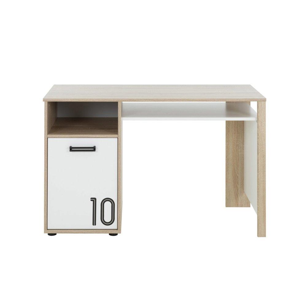 Bureau - Bureau 1 porte décor chêne sonoma et blanc - THEO photo 1