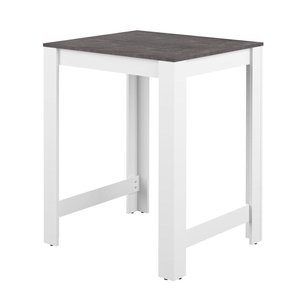 table de bar 80x70x102 cm blanche et plateau effet beton solis