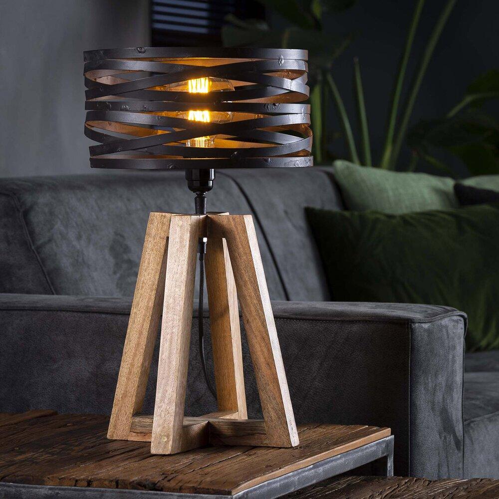 Luminaire - Lampe de table avec abat-jour en métal et piètement bois - BLAKE photo 1