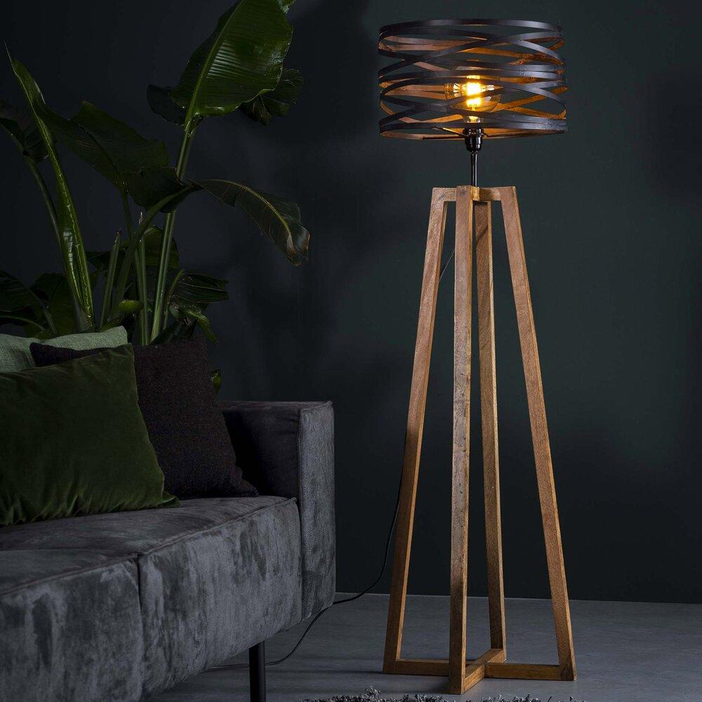 Luminaire - Lampadaire avec abat-jour en métal et piètement bois - BLAKE photo 1