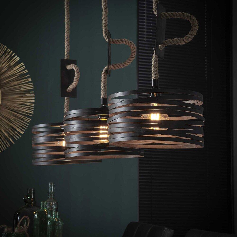 Luminaire - Suspension 3 lampes diamtètre 30 cm en métal et corde - BLAKE photo 1