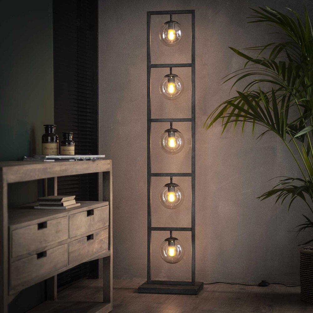Luminaire - Lampadaire 5 lampes en verre et métal finition argent vieilli - KHOE photo 1