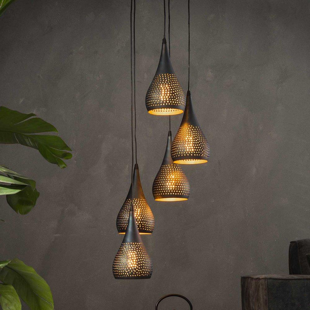 Luminaire - Suspension 5 lampes forme gouttes 15 cm en métal noir et bronze photo 1