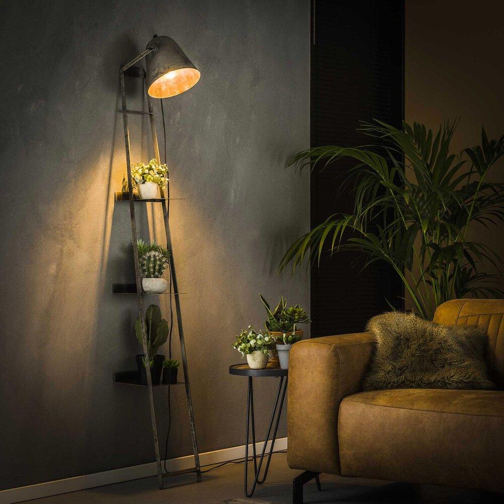 Luminaire - Lampadaire avec étagères 23x35x186 cm en métal argent vieilli photo 1