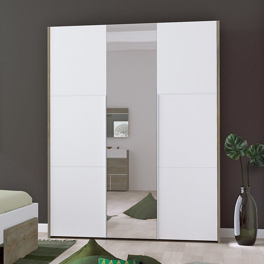 Armoire - Armoire 3 portes 162x57x209 cm blanc et chêne - SPIGA photo 1