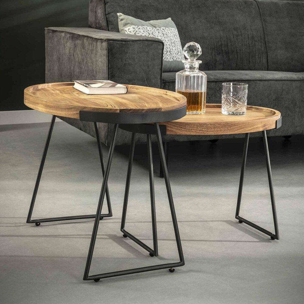 Table basse - Lot de 2 tables d'appoint en acacia naturel et piétement en métal gris photo 1