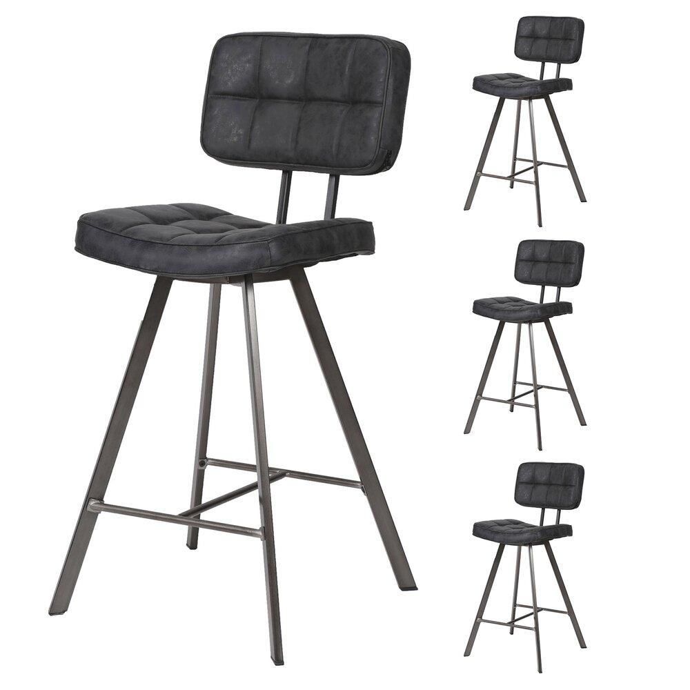 Tabouret de bar - Lot de 4 chaises de bar vintage 43x55x98 cm en PU noir et métal photo 1