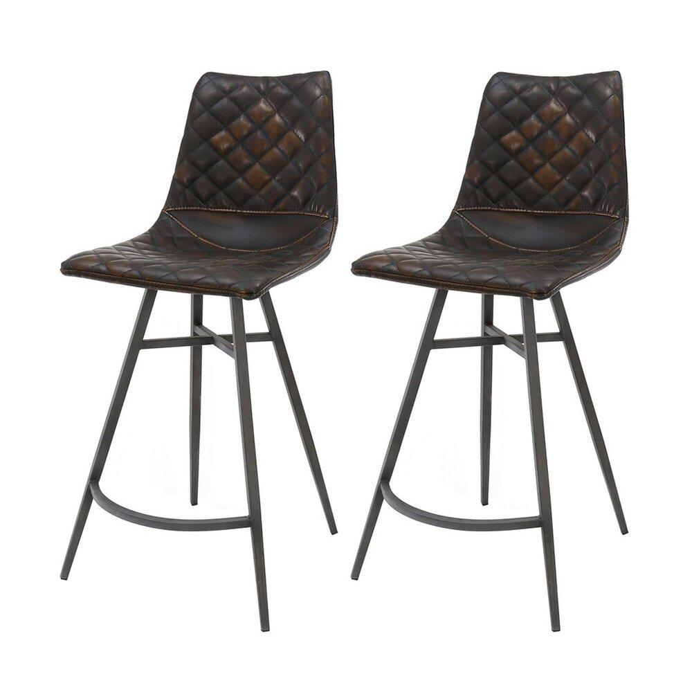 Tabouret de bar - Lot de 2 chaises de bar vintage en PU brun vieilli photo 1