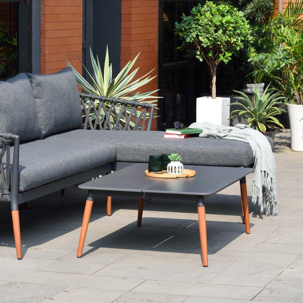 Meuble de jardin - Table basse carrée 74,5x39,7 cm en ciment et teck photo 1
