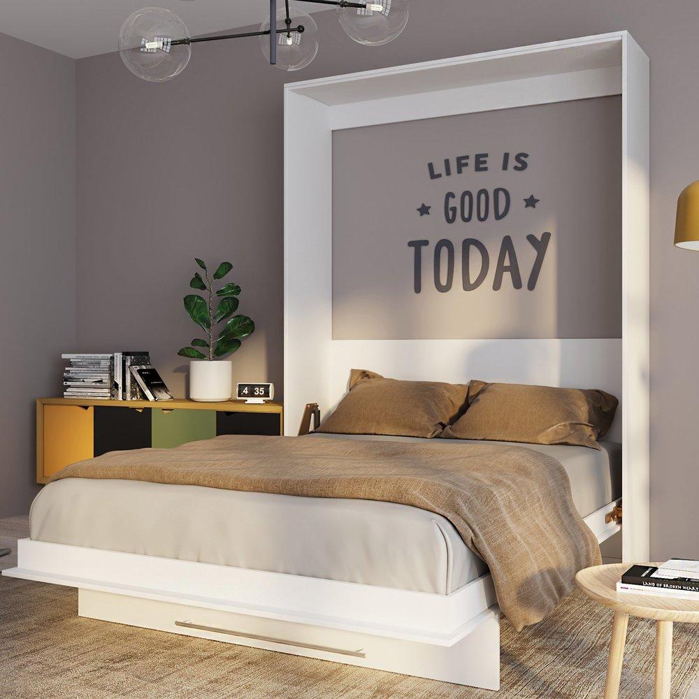 Lit escamotable - Lit escamotable vertical 160x200 cm blanc - VIARDO photo 1