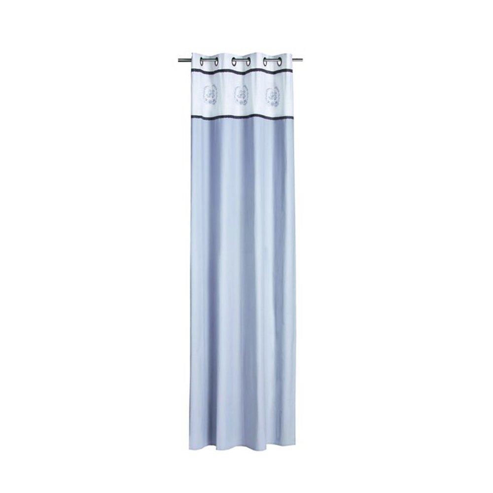 Rideaux - Rideau à œillets 135x250 cm en coton blanc et gris - CASTLE photo 1