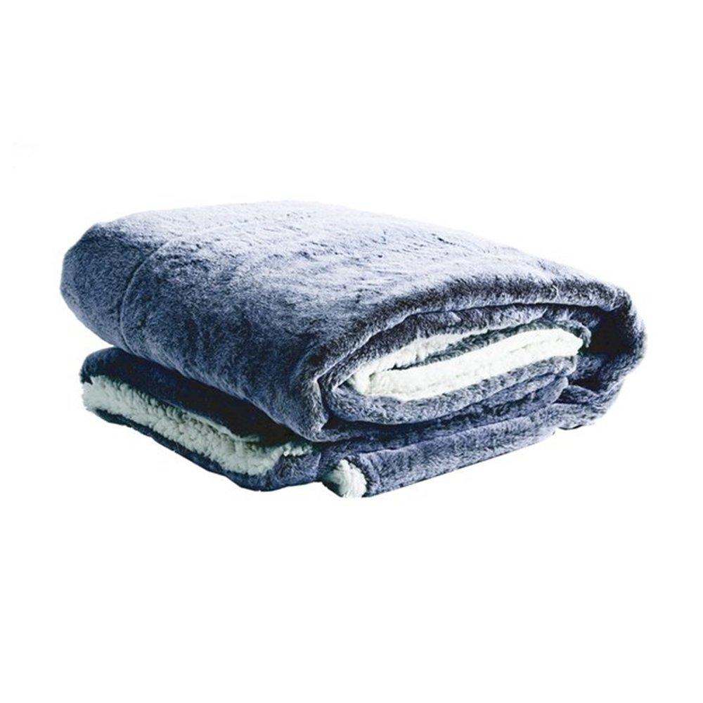 Couvre-lits et accessoires - Plaid 130x160 cm en fourrure polyester bleu foncé photo 1
