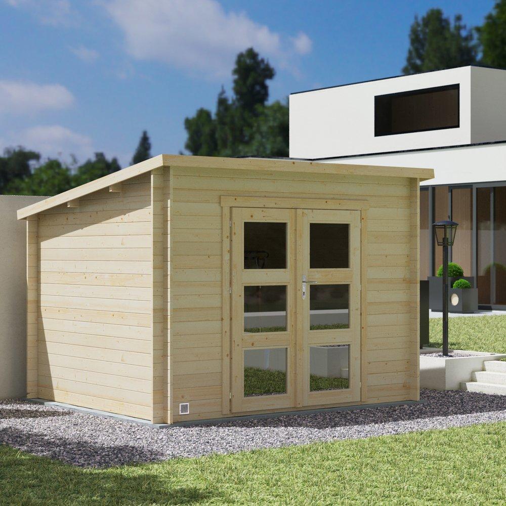 Abris, garages et serres - Abri de jardin 2 portes 7,40 m2 en madriers à emboiter - SCHELTY photo 1